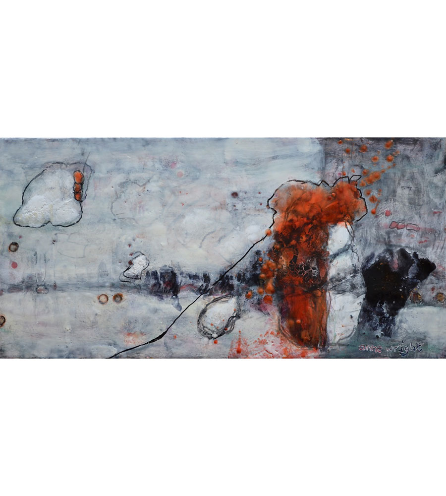 My Bonnie | 12 x 24 | encaustic and graphite on wood panel | Anne Wright | available Muse Gallery