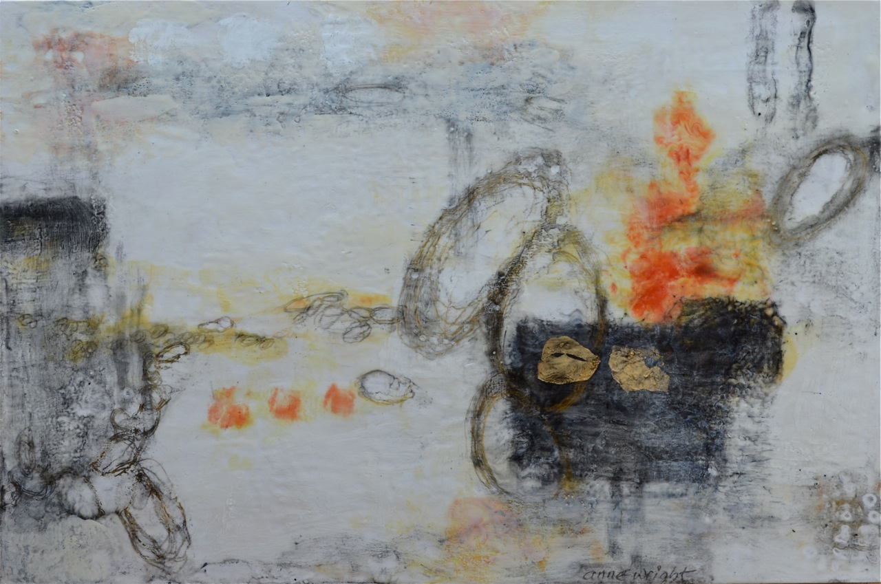 Across the Sea | 24 x 36 | encaustic, graphite, gold leaf on panel | Anne Wright | available, Muse Gallery
