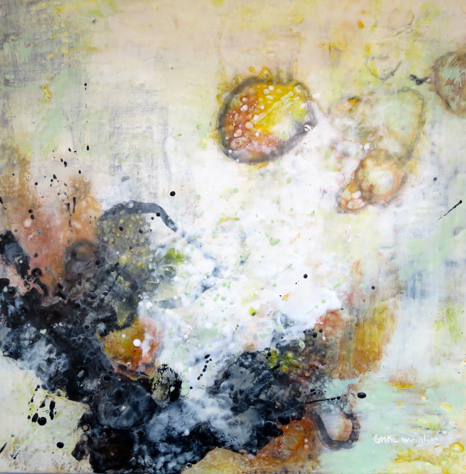 Marsh Languages | 30 x 30 | encaustic on panel | Anne Wright | available from artist