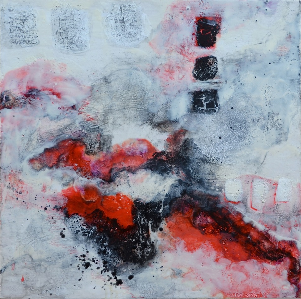 Molten Mist | 24 x 24 | encaustic, graphite on panel | Anne Wright | available Muse Gallery