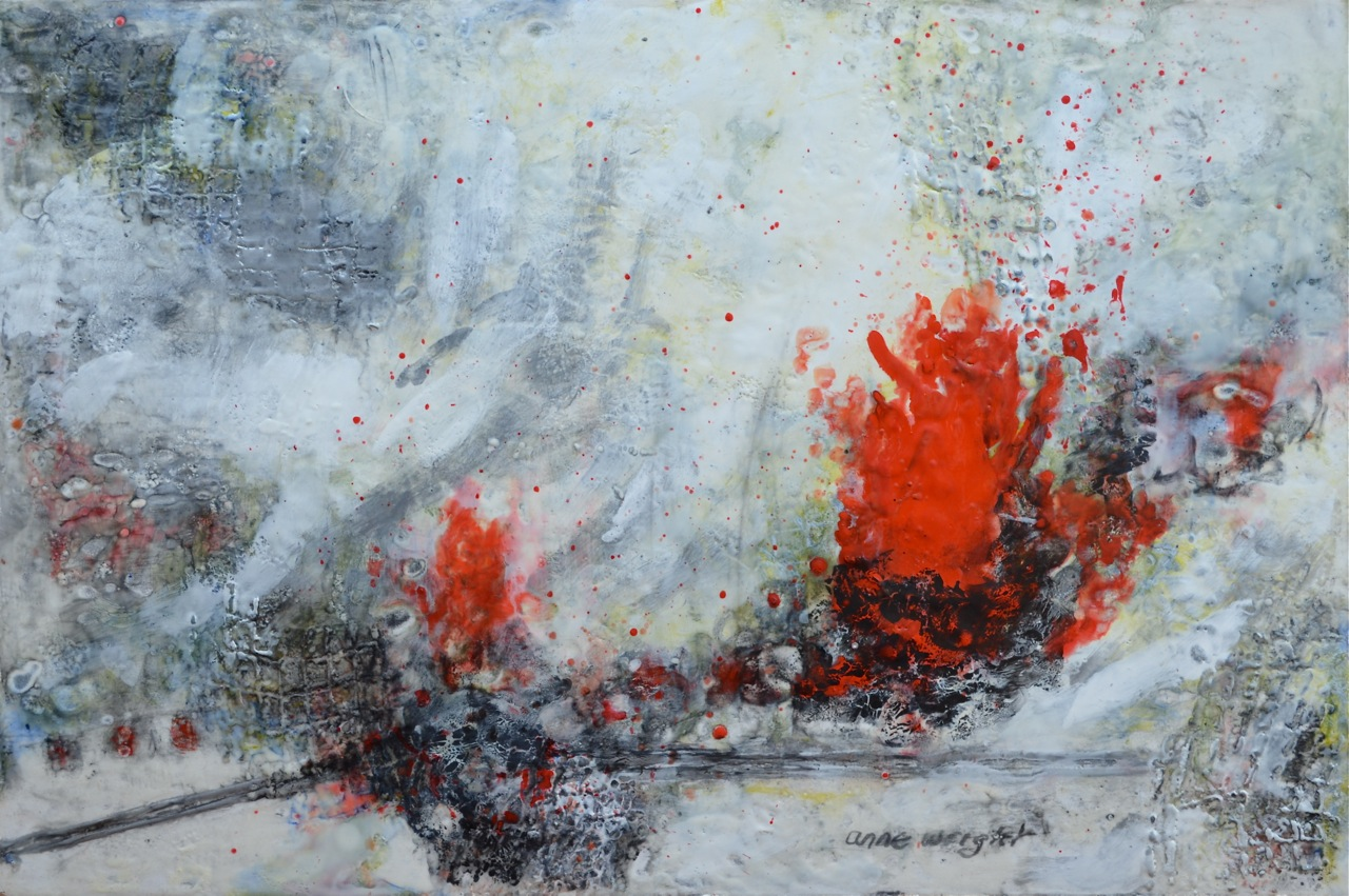 Human Error | 24 x 36 | encaustic, graphite on wood panel | Anne Wright | available Muse Gallery